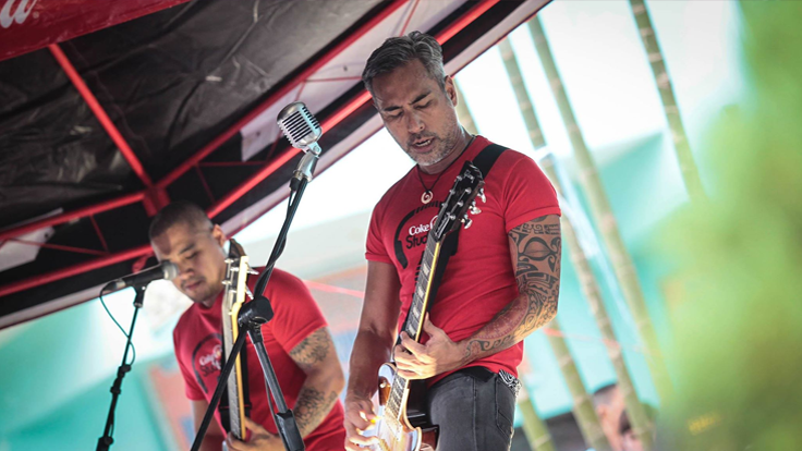 Rock band Franco brings back music to the hearts of the Maranaos during a solidarity caravan of Coca-Cola Philippines at the Saguiaran Gym, one of the largest evacuation centers around Marawi City