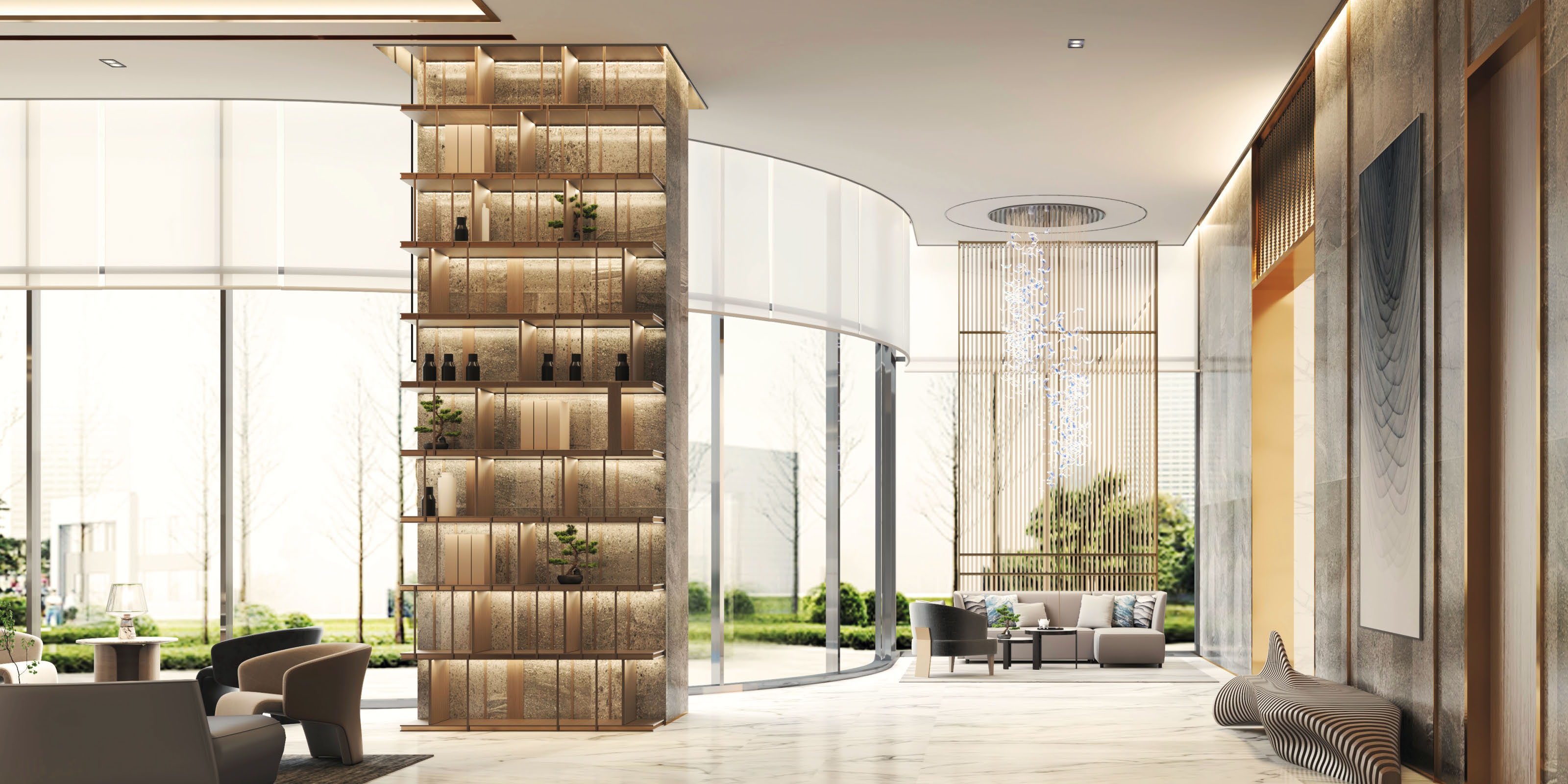 Delight in the grandeur of Sands Residences' lobby enveloped in immaculate white and shimmering gold.