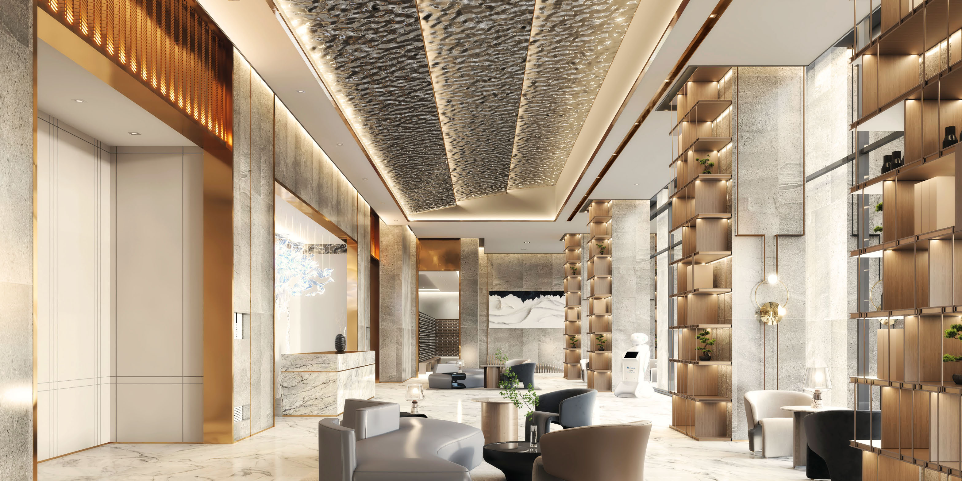 The Grand Lobby, inspired by the bay and the sunset, provides its residents a hotel-like welcome